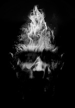 Man Portrait Made Of Flames