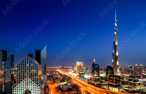 Poster Dubai Amazing sunset dubai downtown skyline with tallest skyscrapers and beautiful blue sky, Dubai, United Arab Emirates