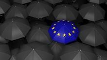 EU Umbrella On Black Umbrellas. 3d Illustration