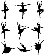 Black Silhouettes Of Ballerina...