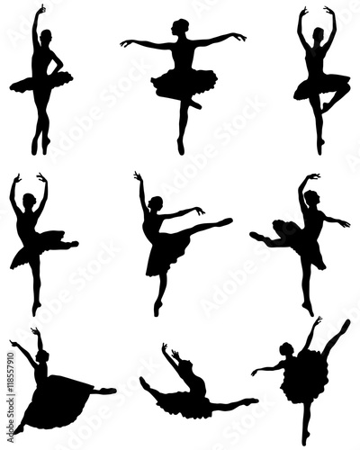 Tableau sur Toile Black silhouettes of ballerinas on a white background, vector