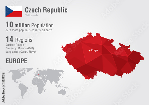 Fotografie, Tablou  Czech Republic world map with a pixel diamond texture.