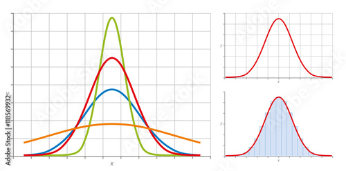 Obraz Normal distribution, also Gaussian distribution or Bell curve. Very common in probability theory. The red curve shows the standard normal distribution. Illustration on white background. - fototapety do salonu