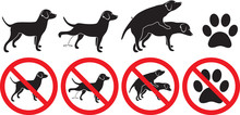 Dog Peeing Grooming Making Love Paw Pawprint Foot Footprint Silhouette Prohibited Sign Vector Illustration Dogs Doggy