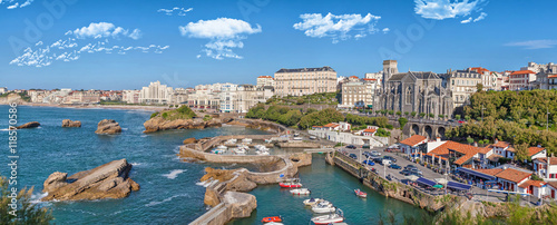 Panorama of port area in Biarritz Canvas Print