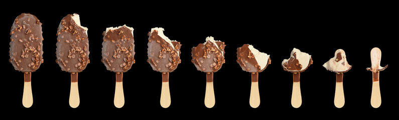 Ice cream in different stages of eating. Isolated on black backg
