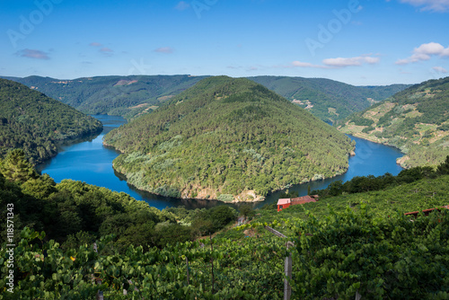 Printed kitchen splashbacks River Cabo do Mundo meander in the river Minho, Lugo (Spain)