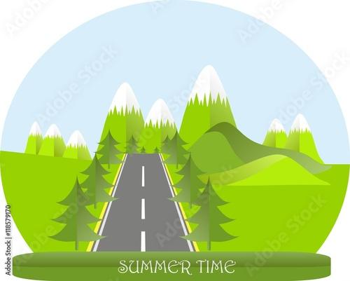 Poster Lime groen Series four seasons. Mountain landscape, road in summer time, fir trees. Modern flat design, design element, vector