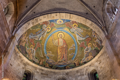 Mosaic i the apse of Lund cathedral, Christ on the skys of heaven Wallpaper Mural