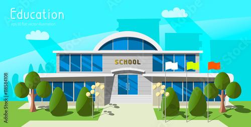 Photo Stands Turquoise Cartoon school building