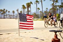 American Flag On Venice Beach
