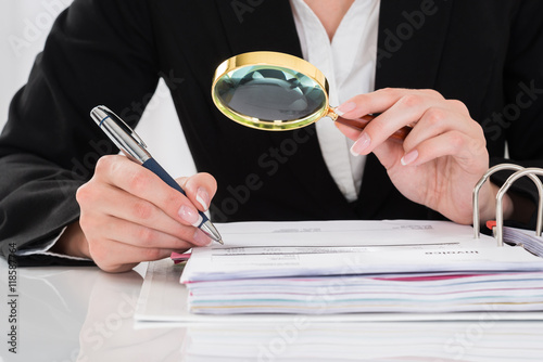 Auditor Inspecting Financial Documents Wallpaper Mural