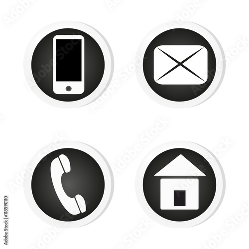 Vector contact buttons email, phone, mobile, address, icons