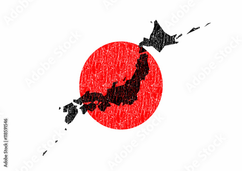 Flaga Japonii i mapa Japonii