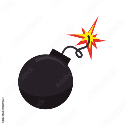 Photo  bomb boom explotion explosive detonate spark ball vector illustration