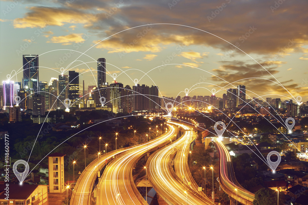Fototapeta Map pin flat above blue tone city scape and network connection concept