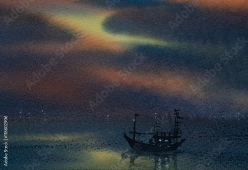 Foto auf AluDibond Schiff Watercolor painting of beautiful sea with single boat and twilight sky