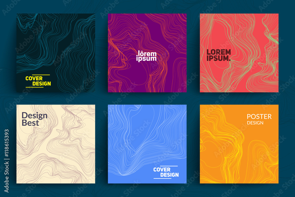 Fototapety, obrazy: Set of Abstract Cards with Liquid Lines. Applicable for Covers, Placards, Posters, Flyers and Banner Designs.