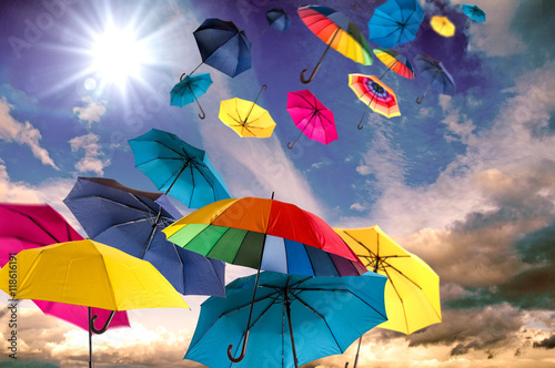 Fotografie, Obraz  Happiness, lust for life: flying colorful umbrellas on in front of blue sky :)