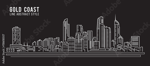Valokuvatapetti Cityscape Building Line art Vector Illustration design - Gold coast city