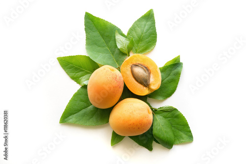 Ripe apricots with leaves