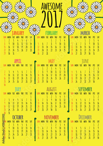 Fényképezés  Optimistic floral 2017 vector calendar