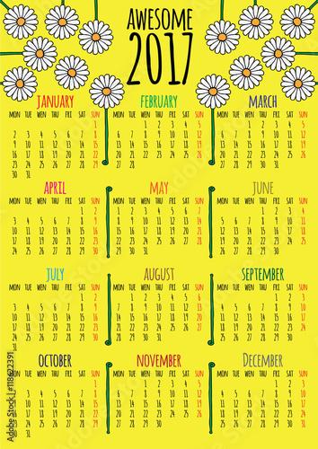 Fotografie, Obraz  Optimistic floral 2017 vector calendar