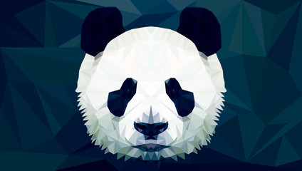 Fototapetapanda head polygon isolated vector