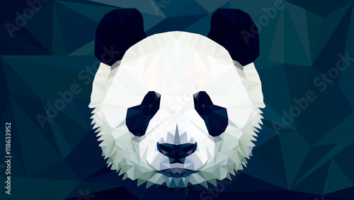 Fényképezés  panda head polygon isolated vector