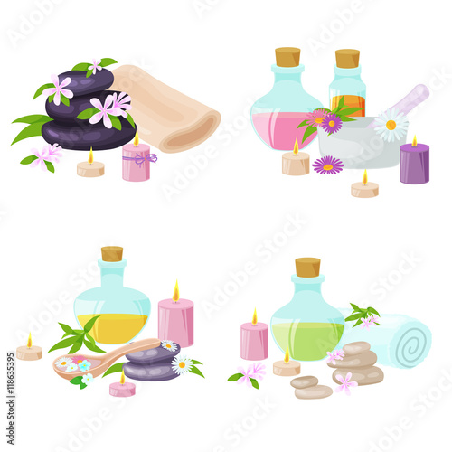 Spa Towel And Aroma Oil Spa Symbols Spa Symbols Cartoon Icons Design For Cosmetics Store Spa And Beauty Salon Organic Health Care Products Buy This Stock Vector And Explore Similar Vectors At