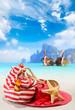 Summer beach bag with straw hat
