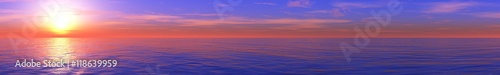 Photo panoramic ocean sunset