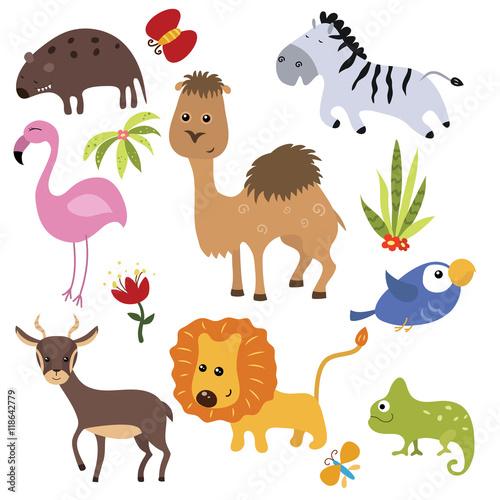 Poster de jardin Zoo Vector set of different african animals