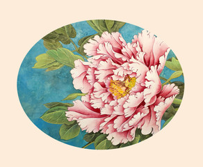 Naklejka Egzotyczne gentle pink peony