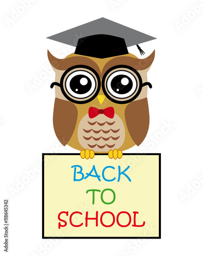 Photo Stands Cute owl teacher on white background cartoon with sign back to school