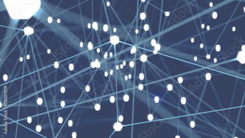 Sieć połączeń i wiązań abstrakcyjne granatowe tło z świecącymi punktami