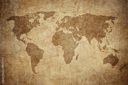 grunge map of the world Wallpaper Mural