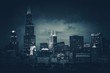 Chicago City Skyline Dark Blue