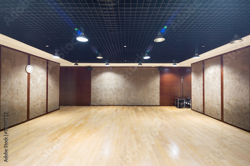 Design and decoration of empty room in modern gym buy this stock