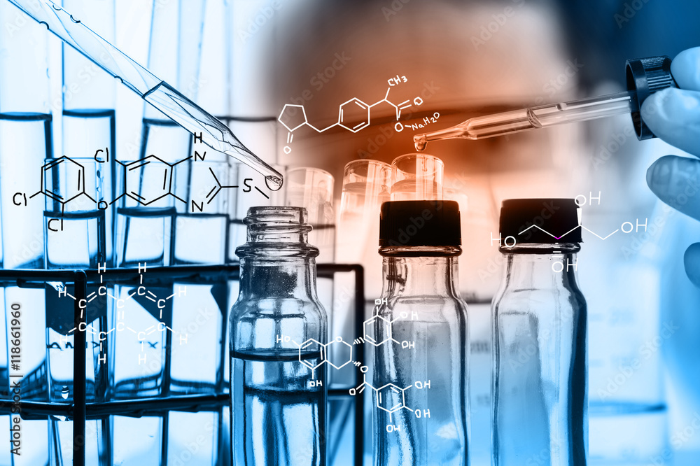 Fototapety, obrazy: Laboratory glassware containing chemical liquid, science research,Double exposure of scientist and test tubes, laboratory concept.with chemical equations