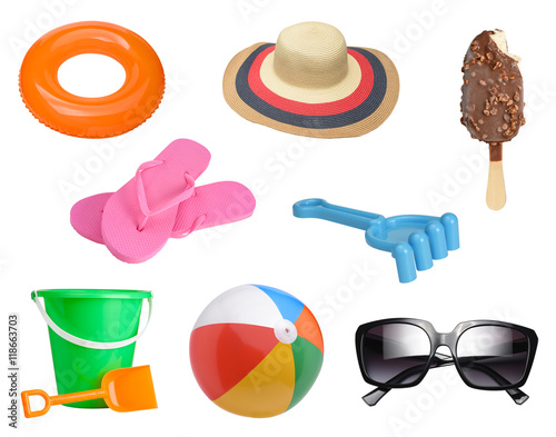 Fotografie, Obraz  Summer items collection isolated on white background