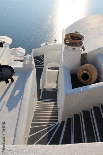 Fototapety, obrazy: scalinata di Oia nell'isola di Santorini