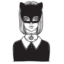 Beautiful Cat Woman With The Carnival Mask. Gothic Girl In A Mask Of A Black Cat. Linear Illustration. Occult Illustration