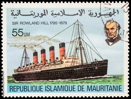 Old steamship with portrait of Sir Rowland Hill on postage stamp Wallpaper Mural