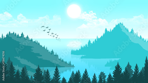 Spoed Foto op Canvas Turkoois Landscape mountains and forest