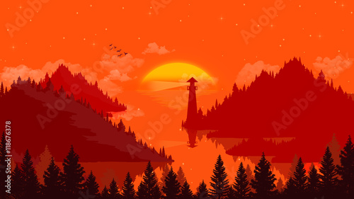 Garden Poster Red Flat landscape Sunset and islands