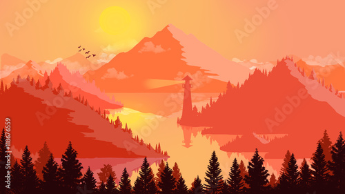 Deurstickers Rood Flat landscape Sunset and islands