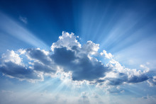 Beautiful Beam Of Light And The Clouds. The Divine Sky.