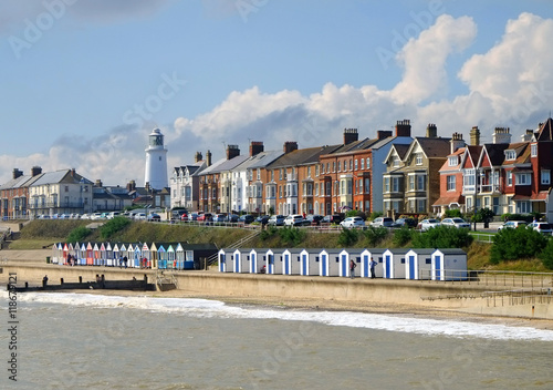 Photo Southwold busy promenade, a popular Suffolk coast tourist destination