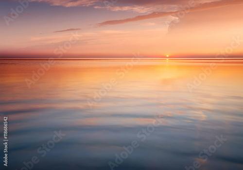 Seascape during sunrise. Beautiful natural summer seascape